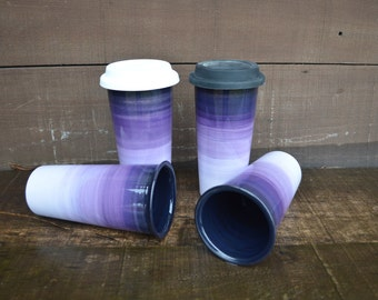 Purple Ombre Large Ceramic Travel Mug with Silicone Lid - Bright Colorful Gradient Design - Pick Your Lid Color - Shades of Purples