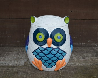 Whooo Loves Owls - Large Modern Ceramic Owl Cookie Jar - Handpainted White with Shades of Blue Green and Purple