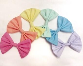 Pastel rainbow hair bow set of 6 pink peach yellow mint sky blue lavendar