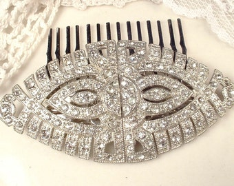 Antique Hair Comb OR Sash Brooch, 1920s 1930s Duette Clip, Art Deco Pave Rhinestone Oval Silver Bridal Pin, Great Gatsby Wedding Hairpiece