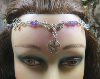 Pentacle Circlet Headpiece, Purple Amethyst Crystal Tiara, Wiccan Wedding Headdress, Handfasting Circlet, Wicca, Pagan, Witch