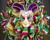 Mardi Gras Wreath, Fat Tuesday Wreath, Deco Mesh Wreaths, Mardi Gras Decorations, Mardi Gras Mask Wreath