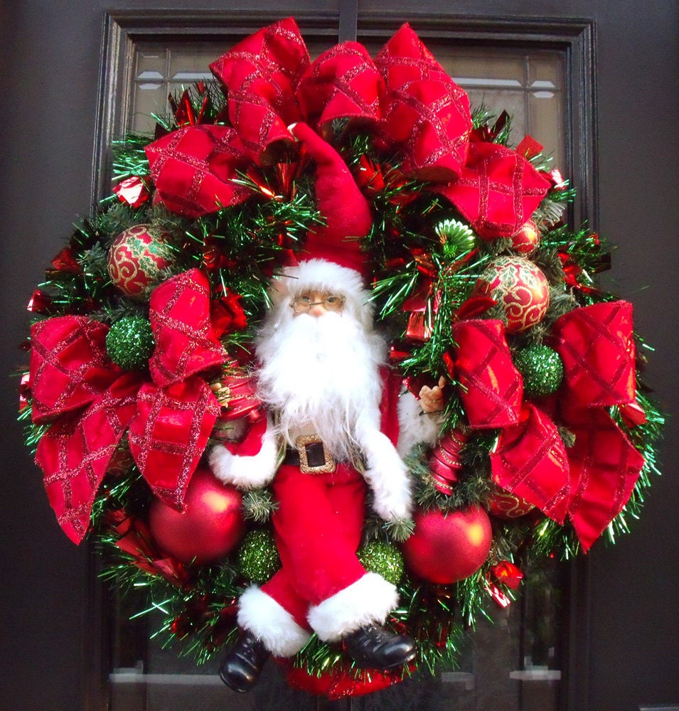 Santa Wreath Red Christmas Wreath Elegant Christmas Wreaths