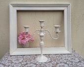 White 3 arm candelabra Victorian candelabra Off White Cream Candle Holder