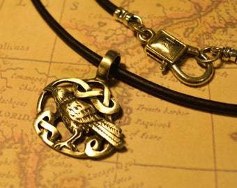 Free Shipping, Leather Necklace, Bird in Celtic Knots, Mens Necklace, Mens Jewelry, Mens Gift, Pendant, Distresed Cord