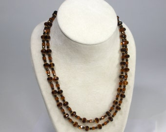 Czech Amber Glass Two Strand Necklace