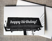 Letterpressed California Billboard 'Happy Birthday' Card