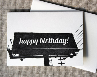 Letterpressed California Billboard 'Happy Birthday' Card