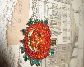 Stunning Vintage Swarovski Crystal Pumpkin Brooch Holiday Brooch Collectable