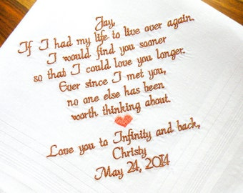 Fiance Gift, Future Husband Gift, Embroidered Wedding Handkerchief, Personalized Gift, Embroidered Wedding Handkerchief By Canyon Embroidery