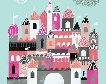 Castle Nursery Print (Pinks)*