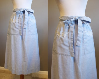 Wrap Skirt Vintage Light Blue Embroidered 70s XS Small