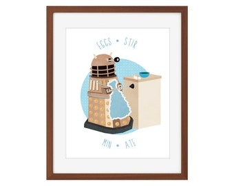 Doctor Who Dalek kitchen print - Eggs-Stir-Min-Ate