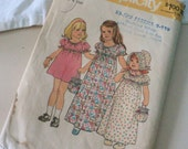 Vintage 1970s Little House on the Prairie Sewing Pattern 7275 With Bonnet Maxi Dress Simplicity Size 6 Toddler & Child