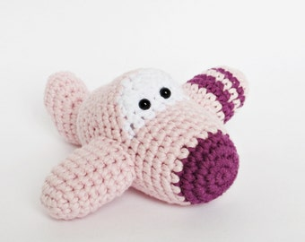 Amigurumi Crochet Airplane Baby Rattle Toy - organic cotton - baby pink and purple