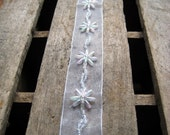 "Decorative Trim - Sheer Ribbon with Iridescent Beads - Flower Design - 1 Yard 10"" x 1"" Wide"