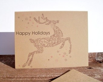 Holiday Card Set - Reindeer Christmas Cards, Happy Holidays, Woodland Holiday Thank You Notes, Holiday Greeting Cards, Kraft Note Cards