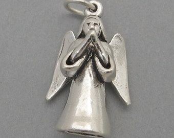 Sterling Silver 925 Charm Pendant 3D PRAYING ANGEL