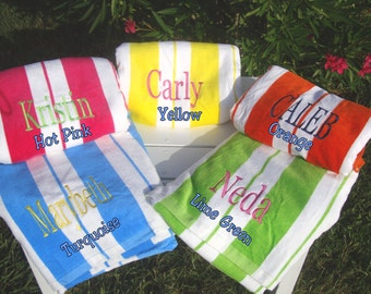 Bridesmaid's Custom Beach Towels in Yellow, Lime, Hot Pink, Orange, and Turquoise