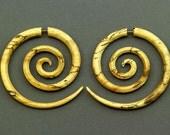 Fake Gauges, Handmade, Wood Earrings, Cheaters, Organic, Plugs, Split, Tribal Style - XL Double Spirals Tamarind Wood