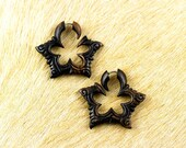 Fake Gauges, Handmade, Wood Earrings, Cheaters, Organic, Plugs, Split, Tribal Style - Flower Pedal Hoops Iron Wood