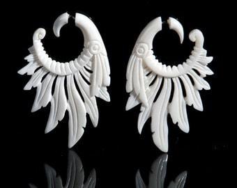 Fake Gauges, Fake Plugs, Handmade Bone Earrings, Tribal Style - Feather Headdress Bone