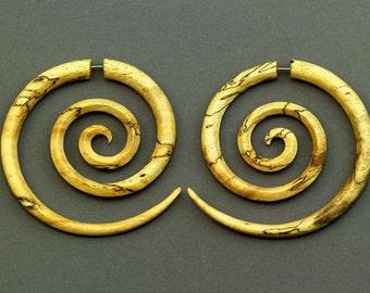 Fake Gauges, Fake Plugs, Handmade Wood Earrings, Tribal Style - XL Double Spirals Tamarind Wood