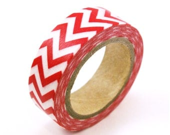 Red Washi tape with CHEVRON design -red chevron washi masking tape - red masking tape - red chevron masking tape for weddings, scrappbooking