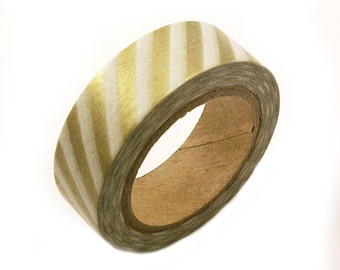 Gold Washi tape wih AIRMAIL STRIPES - Gold striped masking tape - gold stripe washi masking tape for weddings, scrapbooking, gift wrapping