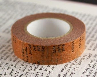 Classiky Japanese Washi Tape - Antique Old Book rust orange washi masking tape with Letters & Numbers