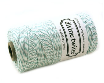 Bakers Twine 240 yard spool - TEAL BLUE-GREEN & White Bakers Twine String for crafting, gift wrapping, packaging, invitations