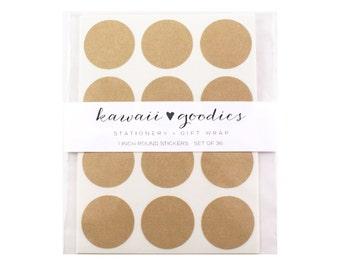 36 round Kraft brown stickers - 1 inch circle kraft brown labels - FREE SHIPPING