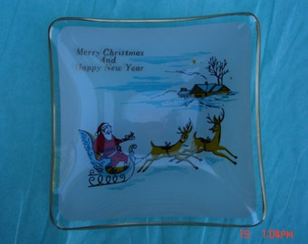 Vintage Square Glass Decorated Christmas Trinket Dish - Like New