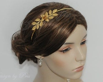 NEW Handmade Bridal Accessories Wedding Hair Accessories Bridal Gold Leaves Swarovski Pearls and Rhinestone Headband -Ready to SHIP