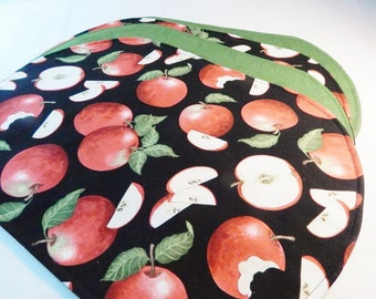 Apple Placemats, Apples on Black, Kitchen Mats, Gifts Under 30, Red, Black, Green, Made in USA