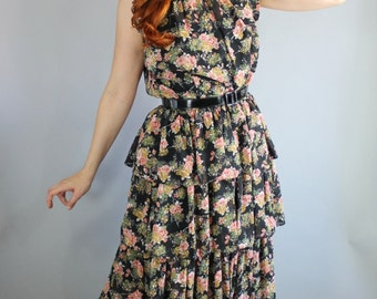 Vintage 1950s Black Pink Roses Print Spring Tea Length Dress// Wedding Guest Dress