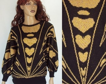 Vintage Sweater Gold heart 70s  SIZE M sweater Black and Gold  100% cotton wool  Free shipping