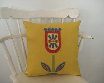 yellow pillow, decorative throw pillow, mod, flower pillow, applique, scandinavian decor, cushion