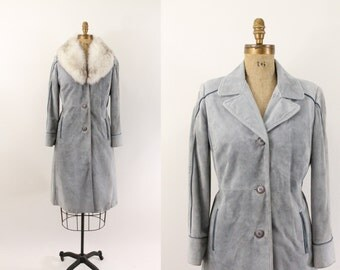 suede jacket - 70s powder blue suede coat - fox fur collar