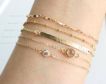 Personalized Layering Bracelets / Gold Dainty Bracelets / Bar Bracelet / Gemstone Bracelet / Diamond Bracelet / 14K Gold Filled Bracelet