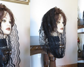 Double Front Scalloped Infinity Lace Snood Headcoverings Church or Chapel Veil Mantilla Scarf  - single loop - black white brown and so on