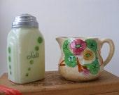 Vtg 1930s Avon Ware Green Maroon Floral English Creamer