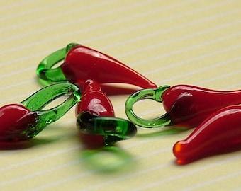 Chilli pepper glass lampwork beads set of 10