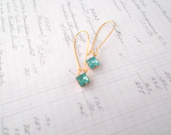Delicate Gold Earrings Aqua Glass Square Stone Dainty Gold Earrings Gifts For Her