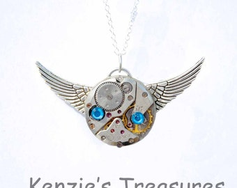 Blue Swarovski Time Flies Steampunk Necklace ~ Made With Real Vintage Russian Zarja Watch Movement and Swarovski Crystals