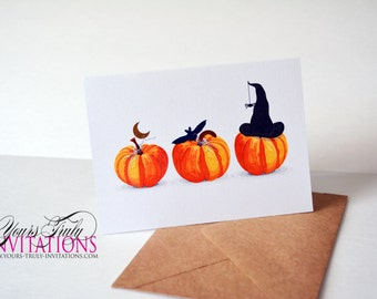 Happy Halloween or Happy Fall Pumpkin note Greeting card set or single