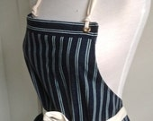 Woman Apron  Full denim  Japanese Denim  Indigo White Stripes  Home cook Wait Person