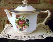 """Vintage tea pot, 2 Cup Teapot, Made in England, """"Ceylon Ivory"""" design, Hand painted, Booths Co."""