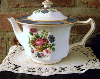 "Vintage tea pot, 2 Cup Teapot, Made in England, ""Ceylon Ivory"" design, Hand painted, Booths Co."