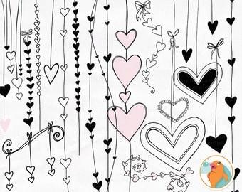 Heart Clip Art, Valentine Digital Stamps, Heart Strings Border ClipArt, PNG Doodles, Love Design Embellishment, Wedding Graphics